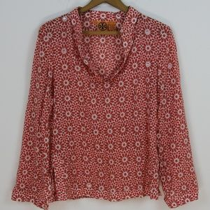 Tory Burch Floral Cotton Long Sleeve Sequin Tunic